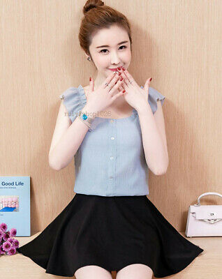 Fashion Korean Women Summer Sleeveless Ruffle Slim Chiffon Shirt Blouse Top Vest