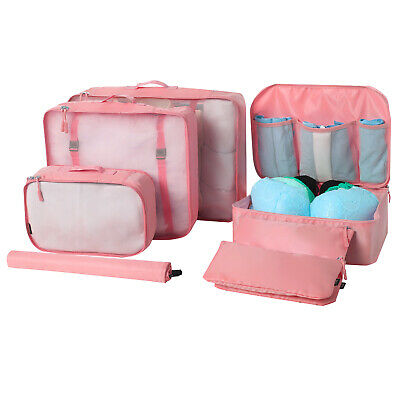BAGAIL 7-Pc Lightweight Clothes Packing Organizers Storage Bag Cubes for Travel