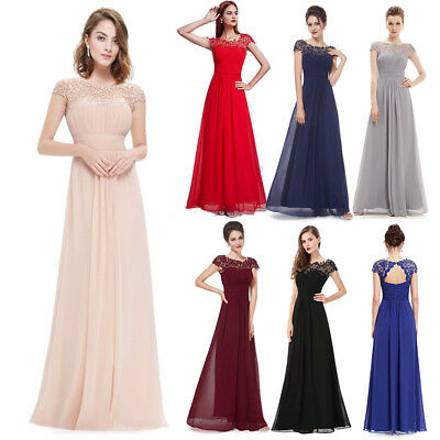 Women Lace Formal Wedding Bridesmaid Evening Ball Prom Gown Long Cocktail Dress