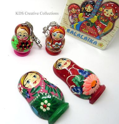 Russian 5 Piece Matryoshka Nesting Doll Keychain and Magnet Set, Hand Painted
