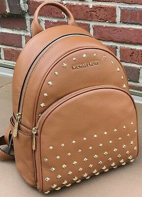 527510cbc6c8 NWT MICHAEL KORS Abbey Medium Studded Backpack Leather Luggage ...