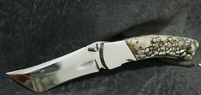Hunting Pocket Knife Foldable Antler Handle Stainless Steel Modified Tanto Rare