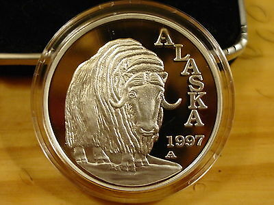 Alaska Mint Official State 1997 MUSK OX .999 Silver Proof 1 Troy Oz  RARE