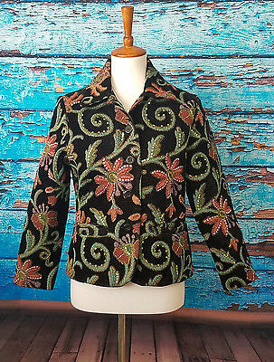 e9a8d46cc53 Drapers Damons Womens Petite Small Black Jacket Embroidered Button Up Color