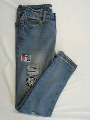 0b8aed6c37d Bluenote Slim Fit Men's Distress Ripped Patched Denim Jeans Size 28 X 30  Hemmed