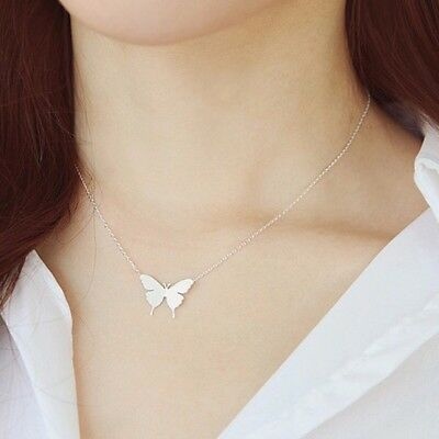 """Small BUTTERFLY  Pendant Necklace Silver or Gold Plated 18"""" N138"""