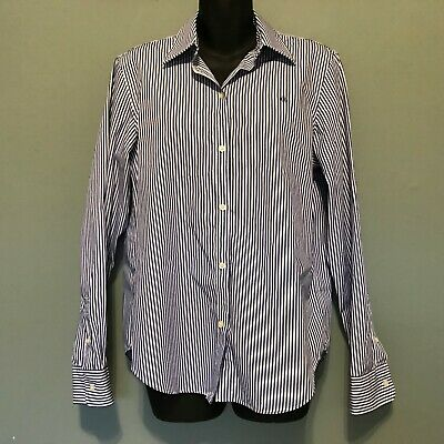 e71316b9 Womens Ralph Lauren Long Sleeve Button Down Shirt Purple White Stripe Size M  EUC