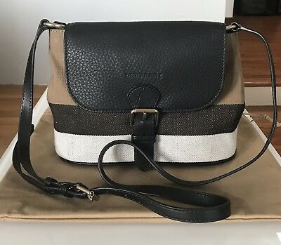 NWT Burberry Grainy Canvas Check Small