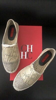 a401c52922926 CH Flats Shoes gold and silver Espadrilles Carolina Herrera SIZE 38 NWT
