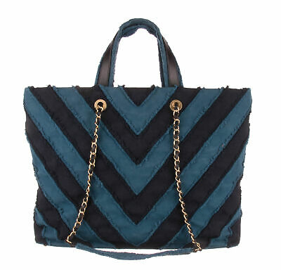 ade26dac744c89 CHANEL Blue & Black Denim Chevron Large Shopping Tote Bag