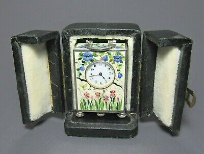 Antique STERLING SILVER & GUILLOCHE ENAMEL Sub Miniature CLOCK w/Orig Case NICE!