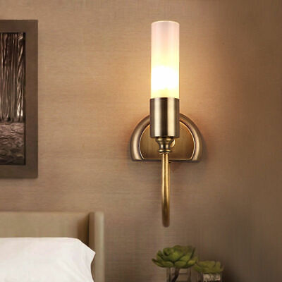 Rustic Cylinder Glass Lamp Shade Wall Sconce Fixture with Solid Brass Curved Arm