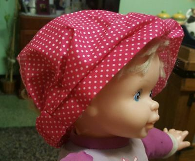 GIRLS / BABY Pink & White Polka-dot Elastic BANDANA-LOOK HEADBAND! SO CUTE!