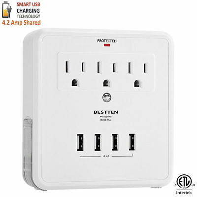 Wall Mount Surge Protector 3 Outlet with 4 USB Charging Ports & 2 Phone Holder