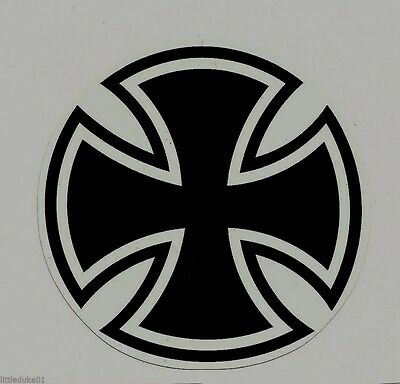 """IRON CROSS"" Vinyl Sticker Decal Hot Rod Rat Fink DRAG RACING V8 HELMET"