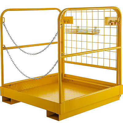 Forklift Safety Cage 36''*36'' Work Platform Collapsible Built-In Chains Yellow
