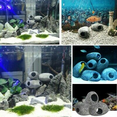 Cichlid Stone Ceramic Rock Cave Aquarium Fish Tank Pond Ornament Shrimp Breeding