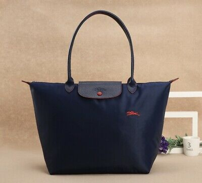 Longchamp Collection Le Pliage Navy Blue Nylon Tote with Red Horse Embroidery