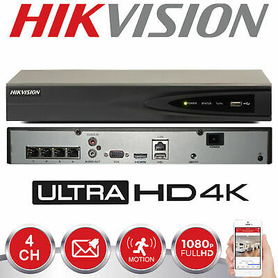 HIKVISION 4CH CHANNEL 4K 8MP H.265 NVR DS-7604NI-K1/4P Security IP POE Recorder