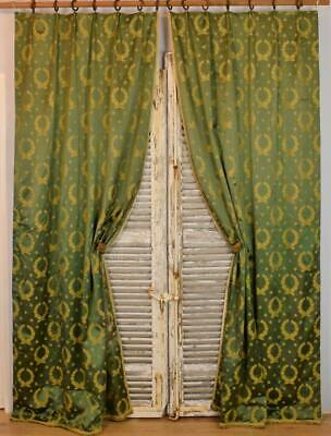Superb Pair Long Antique French Chateau Curtains, Napoleonic Bee Silk Damask