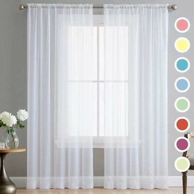 Pair (2 Panels) Of Lucy Voile Slot Top Panels -Top Quality Net & Voile Curtains
