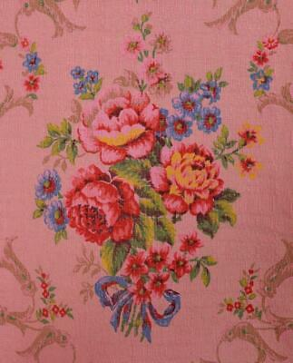 Exquisite Antique French Curtain / Panel, Roses & Bows, Amazing Colours - B914