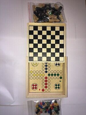 4 in 1 Wooden Travel Board Game Chess Backgammon Chinese Checkers Free P&P 012