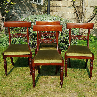 Regency Bar Back Mahogany Set of 4 Dining Chairs C1820 (Georgian George IV)