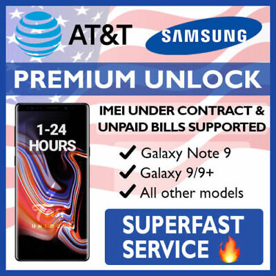 Att Premium Factory Unlock Code Service For At&T Samsung Galaxy Note 9 S9 S9+S10