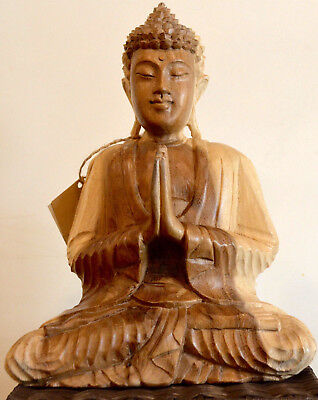 Buddha Statue-30cm Hand carved Suar wood-Namaskara Mudra Pose-REDUCED