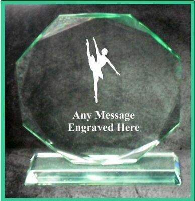 Glass Ballet Dancing 18Cm Octagon Award Trophy Ga1048 Engraved Personalised