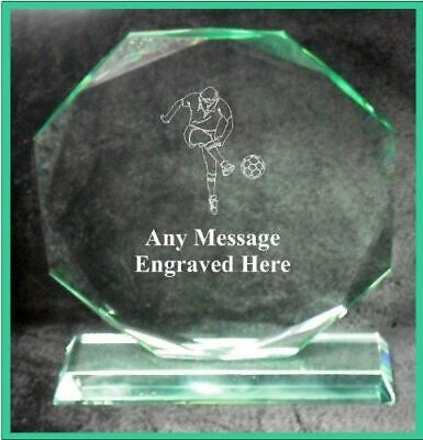 Glass Football 18Cm Octagon Award Trophy Ga1015 Engraved Personalised
