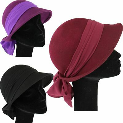 Wool Felt Cloche Hat With Chiffon Band And Large Bow Ladies Vintage Style