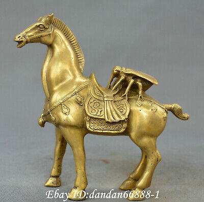 Collect Chinese fengshui old Bronze auspicious horse Fly win money wealth Statue