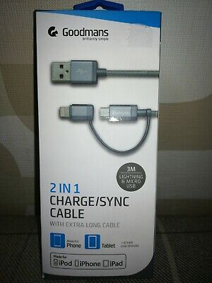 GOODMANS 2 IN 1 ChargeSync Cable 3m