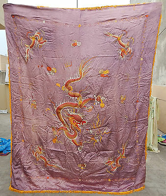 Large Antique Chinese Beautiful Dragons Embroidery Silk Qing Dynasty Textile Art