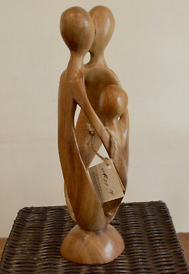 Family Unity - Hand Carved Suar Wood Statue 30cmH by Balinese Artisians