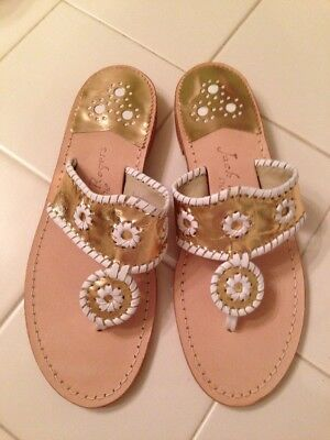 881853a84 New Jack Rogers Palm Beach Navajo Leather Thong Sandals Gold White Size 6 8  Or 9
