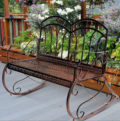 Shabby Chic Garden Bench Vintage Swing Chair Rocking Metal Furniture Patio Seat