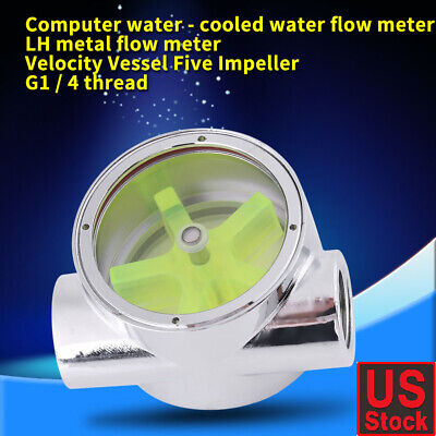 1x G1//4 Water Cool Flow Meter One Piece semicircle Acrylic Indicator 2Ways#1