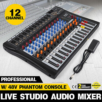 120S-USB 12 Channel Live Studio Audio Mixer Mixing Console Phantom Power N3Y6