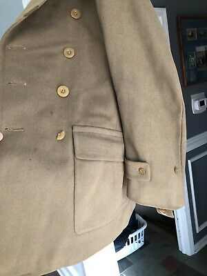 94d9624be06 VTG 1942 World War II WW2 Army Wool Roll Collar Trench Coat Overcoat Size  38R