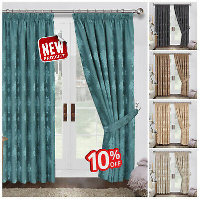 Heavy Jacquard Ready Made Fully Lined Pencil Pleat Curtains With Free Tie Backs