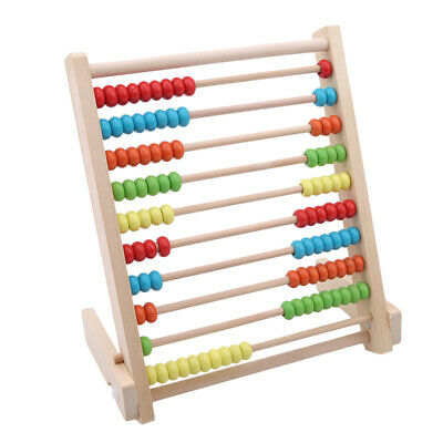 Wooden Children's Counting Bead Abacus Educational Frame Math Toy For Kids LH