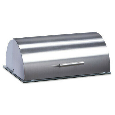 Bread Bin Stainless Steel Lid Curved Loaf Container Food Kitchen Storage Box