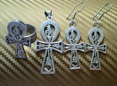 "Egyptian Silver Set ""STAMPED"" Earing, Pendant and Ring OLD ANKH"