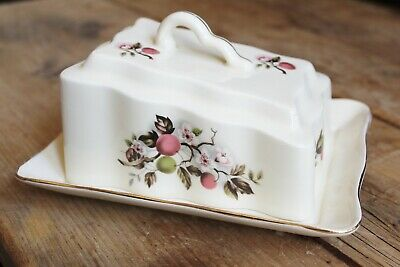 Vintage Floral Wedge Shape  Butter Dish made in Romania