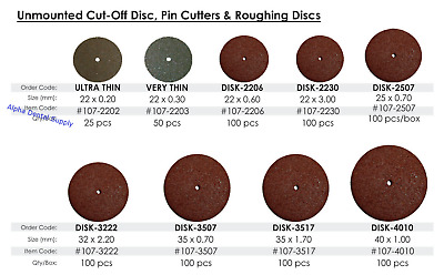 BesQual Dental Lab Cut-Off Discs Pin Cutters & Roughing Discs / Select Item