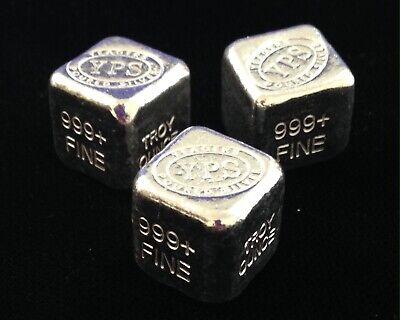1 Oz Hand Poured 999 Silver Bullion Bar Cube Yeager's Poured Silver.