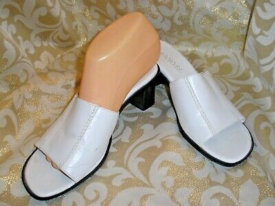 d8b4ecb8ac0b AEROSOLES WHITE LEATHER STRAPPY WEDGE Mules OPEN PUMPS SANDALS 8 M LOCAL  TIME